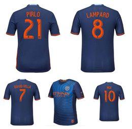 Wholesale Top Quality Season New York City FC Blue Soccer Uniform Football Jerseys Embroidery Logo David Villa Lampard Mix Pirlo