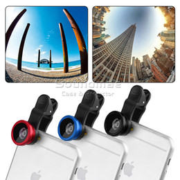 Wholesale 3 in Fish Eye Len Universal Clip Mobile Phone Lens for iPhone Samsung Galaxy HTC Fish Eye Macro Wide Angle with retailpackage