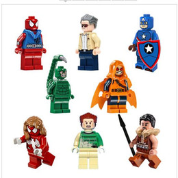 2017 8pcs lot Super Hero Marvel Scorpion Captain America Stan Lee Marvel Founder Sandman Building Blocks As Birthday Gift Collection