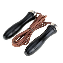 2.8m Strong Durable Wood Handle and Leather Rope Fitness Speed Aerobic Exercise Skipping Jump Rope Fitness Equipment