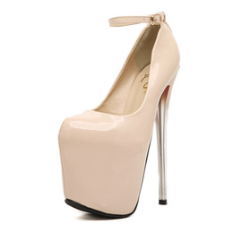 new arrived 2016 Ladies patent leather super 19cm high heel sandals 9.5cm platform beautiful sexy dance party Rolando nude colour size 35-43