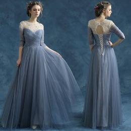 Free Shipping New Arrival Fashion Designer Half Sleeve Long Evening Dresses O-Neck Beading Prom Dresses