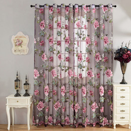 Wholesale 270cm x cm Sheer Curtains Door Room Flower Tull Window Screening Curtain Drape for Bathroom Living Room w
