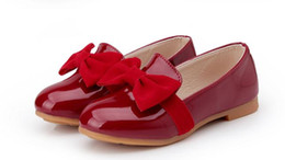 Us size: 8.5-2.5 New Arrive Big Bowknot Black Red Eur Children Casual Shoes, Patent Leather Kids Sandal Girls Shoes.