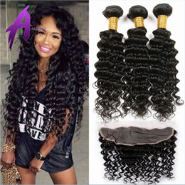 Wholesale 13 Lace Frontal Closure With Bundles Peruvian Deep Wave With Closure Peruvian Deep Wave Lace Frontal And Bundles ali queen