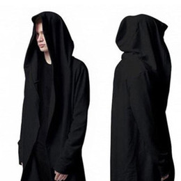 Wholesale Spring hooded cardigan sweater black cape coat loose fat big yards thin section gothic Men s Shirts