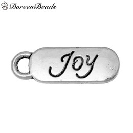 """Zinc Metal Alloy Charms Rectangle Antique Silver Message """" JOY """" Carved 20mm( 6 8"""") x 7mm( 2 8""""), 100 PCs 2016 new Free shipping jewelry mak"""