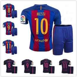 Wholesale 2016 BArcelonaes Shirt set Lionel Messi camisas La Liga Maillot Suarez InIniesta Neymar Jr Pique Home Shirt