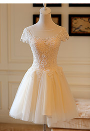 Bateau Neck Short Sleeves Lace Tulle Cocktail Dress 2016 Elegant Knee Length Party Gowns Fast Shipping