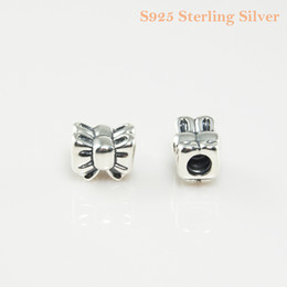 Fits Original Pandora Bracelets & Bangles & Necklaces BOW CHARM DIY Beads Real Solid 925 Sterling Silver Not Plated