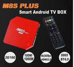 Promotion quad lcd 2017 Nouveau Original M8S Plus Android 5.1.1 TV Box Avec LCD Quad Core Amlogic S905 2G / 16G ROM KODI