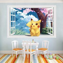 Wholesale 3D Windows Generic Pikachu intoxicated cherry rain Decal Wall Sticker Decor Nursery kindergarten living room vinyl Inspiration art