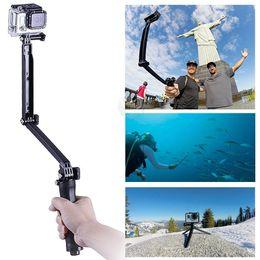 3-Way hand grip Selfie Stick camera Tripod mount Adjustable Monopod for GoPro Hero 1 2 3 3+ 4 Camera Accessories