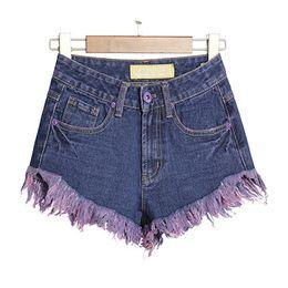 Bohemian Tassels Beach Shorts High Waist Distressed Mini Jeans Pants Summer Casual Denim Shorts Plus Size BSF0368