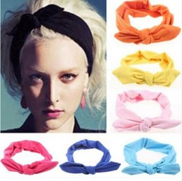 Wholesale Lovely Elastic Stretch Plain Rabbit Bow Knot Hairbands Hair Grips Headband Head Bands Turban Headwear Hair Accessories For Woman