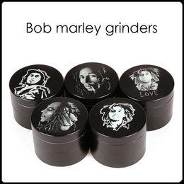 Capas base en Línea-2016 Bob Marley Grinder de aleación de zinc Molinillos de hierba 4 capas de 50 mm a base de plantas Molinillos Molinillos de metal de tabaco Molinillos Molinillos sharpstone