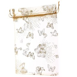Wholesale 50pcs Gold Gilded Butterfly Flower Yarn Bags Organza Bags cm Drawstring Valve Bag Ziplock Packing Bags