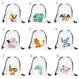 Acheter en ligne Enfants cordon sacs d'école-Nouveau 10 Styles Pikachu Drawstring Sacs Cartoon Pocket Monster Sac à dos Kids School Sac Sports Poke Sac à main Enfants Party Gift