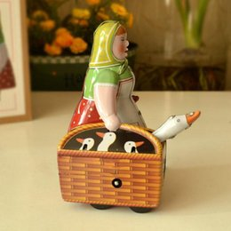 Wholesale Classic Women Tinwork Toys Collection Handmade Wind Up Buying A Goose Women Toys Tin Toys Showcase Decoration