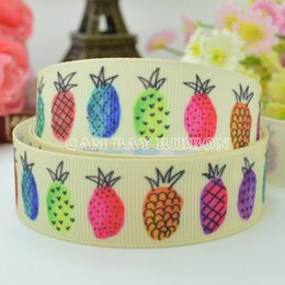 "Lilly Ribbon 7 8"" 22mm Colorful Pineapple Printed Grosgrain Ribbon Hair Bow DIY Handmade Sewing Ribbon Crafts Materials"