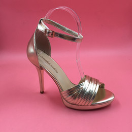 Wholesale Light Gold Women Sandals True To US Size High Heel Open Toe Ankle Strap Real Photo Stilettos Ladies Shoes Women Summer Shoes