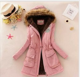 Wholesale- Winter Women Coat Parka Casual Outwear Military Hooded Coat Winter Jacket Women Fur Coats Woman Clothes manteau femme