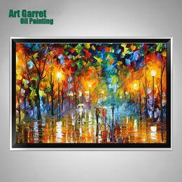 Wholesale Handmade Colourful Knife Oil Painting Canvas Art Modern Decorative wall art for home Decor Rain Steet