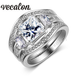 Vecalon Princess cut 4ct Topaz Simulated diamond cz Engagement Wedding Band Ring Set for Women 14KT White Gold Filled Party ring