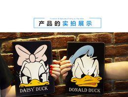 Wholesale Cartoon Donald Duck For iPad mini Cute Leather Case Cover with Kickstand Stand Folding Frozen Elsa Anna Princess Flip