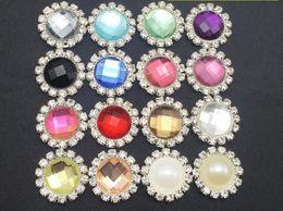 Pinces à cheveux ronds en Ligne-50pcs 16mm Mixte ronde des perles de cristal strass couleur Bouton Flatback Pour clip Scrapbooking bricolage Cheveux Accessoires