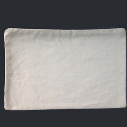 Wholesale plain natural light ivory color pure cotton canvas coin purse with black zipper unisex casual wallet blank cotton pouch
