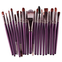 Mybasy 20Pcs Makeup Brushes Set for Beautiful Female Eyeliner Foundation Blush Concealer Powder Face Lip Cosmetics Brushes(Purple+Coffee)