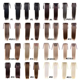 Fashion Women's Ponytail Hairpieces 50cm 22inch 100g Synthetic Hair Extensions Drawstring Ponytail Hair Long Straight Ponytail Hair 15 Color