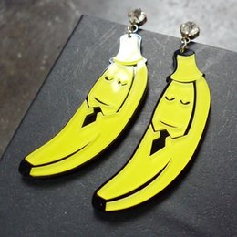 Wholesale Fashion Personality Club Jewelry Accessories New Design Women Long Banana Acrylic Hip Hop Stud Earrings