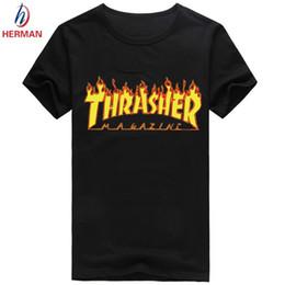 Wholesale Asian Size Skateboard Brand Clothing Thrasher Thin Tshirt Polyester Short Sleeve T shirt Men and Women Hip Hop Rap Swag T shirt PY062