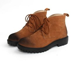 2016 Fashion Lace-up Hiking Motorcycle Boots Short Ankle Boots Women Boots Genuine Leather Shoes, Sz 35-40