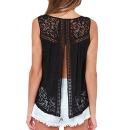 Women Tank Top 2016 New Fashion Women Shirt Sexy Short Crop Tops Black Backless Hollow Out Vest Tops Lace Basic Shirts Blusa