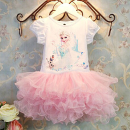 Girls Dress 2016 Kids Girls Elsa Frozen TuTu Princess Dress Children Clothing Kids Clothes 5Pcs Lots