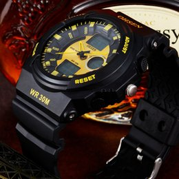 New OHSEN Men's Sports Quartz Wristwatch Digital Analog display Rubber band 30M waterproof Yellow military male watches Christmas Gift