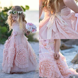 Wholesale Cheap Formal Gowns For Girls - Pink Flower Girls' Dresses For Wedding Lace Applique Ruffles Kids Formal Wear Sleeveless Long Beach Girl's Pageant Gowns Cheap