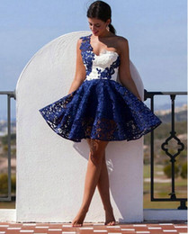 Short Navy Blue Little White Cocktail Dresses 2016 Full Lace One Shoulder Short Prom Dresses Cheap Evening Gowns Vestidos De Festa Curto