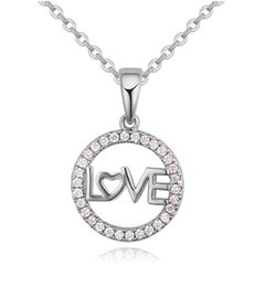 Pendants Necklaces Fashion Women High Quality Zircon 18K Gold Plated Love Circle Clavicle Chain Necklaces Wholesale Drop Shipping TN012