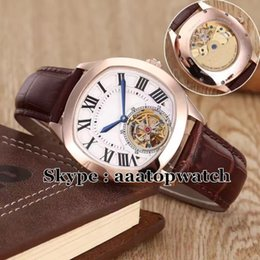 Wholesale The latest arrival Luxury Brand Men s Drive De W4100013 Tourbillon Automatic watches mm Rose Gold Leather Sport Watch fashion watch