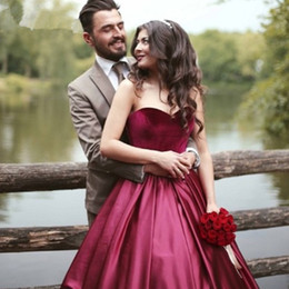 Dubai Fashion Arabic Prom Dresses Long Sweetheart Velvet Satin 2016 Cheap Burgundy Red Formal Party Dresses Evening Wear For Women Cheap