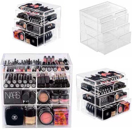 Wholesale New Anti Scratch Clear Acrylic Cosmetic Jewelry Makeup Organizer Box Case Storage Drawer Cases Holder Make Up Storager Boxes
