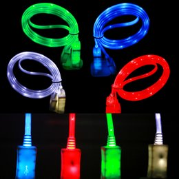 Wholesale LED Visible Micro USB V8 Charger Cable for Samsung S4 S5 S6 Edge Note4 Note5 Data Colors Light Up M Flat Cord