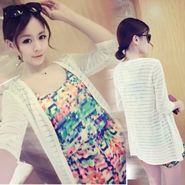 Wholesale Ice silk yarn transparent air conditioning shirt summer new Korean striped long knit sweater coat thin female sun protection clothing