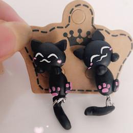 Wholesale 2016 New Fashion Handmade Polymer Clay Lovely Cats Stud Earring For Women Girl Animal Fine Bohemian Earrings Jewelry