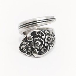 New Hot Fashion Top Quality Vintage Spoon Ring circa 1950 - Spoon Jewelry Spoon Rings Silver antiqued plated free shipping