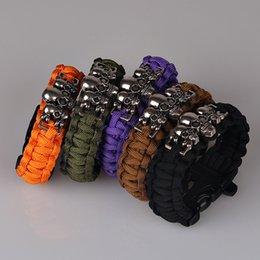 Wholesale Survival Paracord Black Purple Bracelet Outdoor Scraper Whistle Flint Fire Starter Gear Kits Alloy Skull Charm Bracelet Men Unisex Jewelry